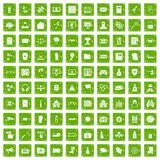 100 hacking icons set grunge green. 100 hacking icons set in grunge style green color isolated on white background vector illustration Vector Illustration
