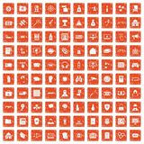 100 hacking icons set grunge orange. 100 hacking icons set in grunge style orange color isolated on white background vector illustration Royalty Free Illustration