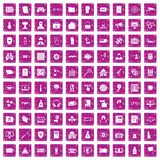 100 hacking icons set grunge pink. 100 hacking icons set in grunge style pink color isolated on white background vector illustration Vector Illustration