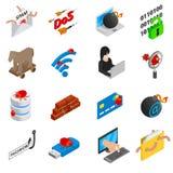 Hacking icons set, isometric 3d style. Hacking icons set in isometric 3d style isolated on white background Stock Image