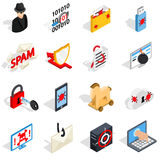 Hacking icons set, isometric 3d style Stock Photography