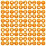 100 hacking icons set orange. 100 hacking icons set in orange circle isolated on white vector illustration Stock Illustration