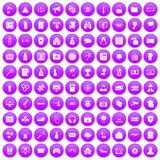 100 hacking icons set purple. 100 hacking icons set in purple circle isolated on white vector illustration Royalty Free Stock Photo