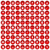100 hacking icons set red. 100 hacking icons set in red circle isolated on white vector illustration Stock Images