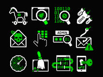 Hacking icons set. Ultra-bright green pictograms on black Royalty Free Stock Photography