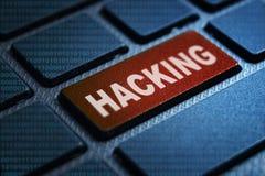 Hacking keyword on keyboard. Hacking keyword concept on computer keyboard technology background macro shot vector illustration