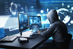 Hacking and malware concept. Side view of hacker using computer with digital interface while sitting at desk of blurry interior. Hacking and malware concept. 3D stock illustration