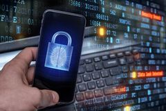 Hacking mobile devices by hackers. Data protection in the cloud royalty free stock photography