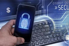Hacking mobile devices by hackers. Data protection in the cloud stock photography