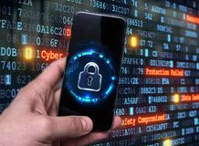 Hacking mobile devices by hackers. Data protection in the cloud royalty free stock photos