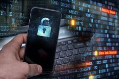 Hacking mobile devices by hackers. Data protection in the cloud. Protecting information in mobile devices. Hacking mobile devices by hackers. Data protection in stock photo