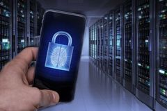 Hacking mobile devices by hackers. Data protection in the cloud royalty free stock images