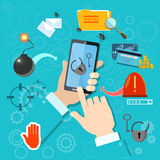 Hacking mobile, smartphone in hand. Hacking mobile smartphone in hand stealing passwords account theft spamming viruses Royalty Free Stock Image