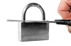Hacking of a padlock Stock Photography