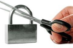Hacking of a padlock Royalty Free Stock Photo