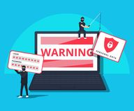 Hacking phishing attack. Flat illustration of young hacker sitting on the laptop to hack protection system. Young man with code symbols on blue background royalty free illustration