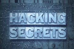 Hacking secrets-pc. Hacking secrets phrase made from metallic letterpress blocks on the pc board background Royalty Free Stock Images