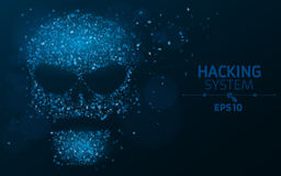 Hacking system. An abstract, luminous skull of blue color from a binary code. The data is under threat. Dust from the programming Royalty Free Stock Photos