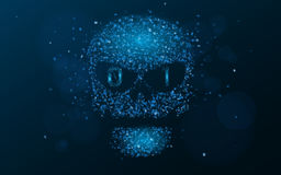 Hacking system. An abstract, luminous skull of blue color from a binary code. The data is under threat. Programming in design. Vec Royalty Free Stock Image