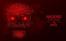 Hacking system. Abstract, luminous skull of red color from programming symbols. Blazing neon eyes. The data is under threat. Vecto Royalty Free Stock Photo