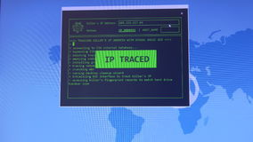 Hacking and technology concept. Tracking killesr`s IP address with visual basuic GUI.