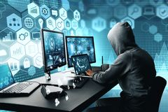 Hacking and thief concept. Side view of hacker using computer with digital interface while sitting at desk of blurry interior. Hacking and thief concept. 3D stock photos