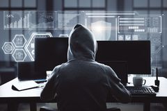 Hacking and web concept. Hacker using laptop with digital business interface in blurry office interior. Hacking and web concept. Double exposure royalty free stock photography