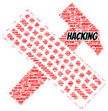 Hacking word cloud shape. Concept Stock Photo