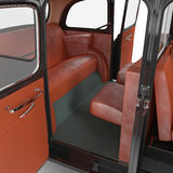 Hackney carriage interior on white. Doors opened. 3D illustration Stock Images
