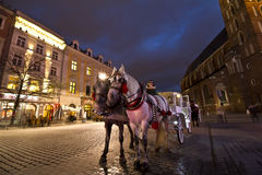Hackney chariot in Krakow at christmastime Royalty Free Stock Images