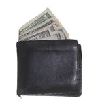 Hackneyed purse with dollars Stock Image