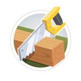 Hacksaw cut  wooden board Royalty Free Stock Image