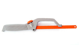 Hacksaw. Hand hacksaw in front of white background Royalty Free Stock Image