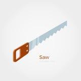 Hacksaw isometric  illustration. Hacksaw  illustration in isometric style. Timber equipment element. Isolated object on white background Stock Photography