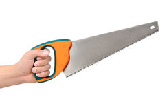 Hacksaw. Male hand with hacksaw isolated on white Royalty Free Stock Photos