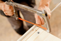 Hacksaw used by a carpenter Royalty Free Stock Photography