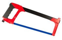 Hacksaw on white background. Hacksaw with blue saw isolated on white background Stock Images