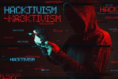 Hacktivism concept with faceless hooded male person royalty free stock photo