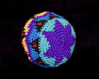 Hacky Sack. A Multi-Colored Hacky Sack Isolated on Black Background royalty free stock image