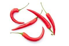 Haczyka kształta chili pieprz na białym tle Fotografia Royalty Free