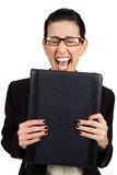Had Enough. Female holding black briefcase screaming Stock Images