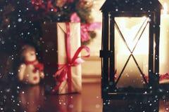 Hada de la nieve del día de fiesta de la linterna de la vela Fotografía de archivo libre de regalías