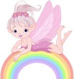 Hada del duendecillo en el arco iris ilustración del vector