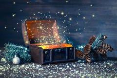 Hada del invierno de la Navidad con milagro en fondo abierto del pecho Foto de archivo libre de regalías