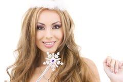Hada encantadora en corona con la varita mágica Imágenes de archivo libres de regalías