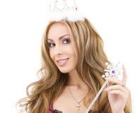 Hada encantadora en corona con la varita mágica Foto de archivo