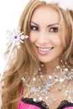 Hada encantadora en corona con la varita mágica Imagen de archivo