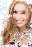 Hada encantadora en corona con la varita mágica Fotografía de archivo libre de regalías