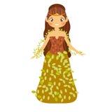 Hada hermosa en el vestido del otoño adornado con las hojas Fotografía de archivo
