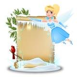 Hada linda con el papel en blanco en invierno stock de ilustración